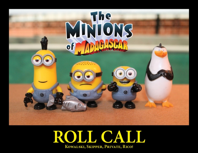Three minions standing in a line, the first minion holding a fish. At the end of the line is a figure of the penguin Rico and a title of The Minions of Madagascar.