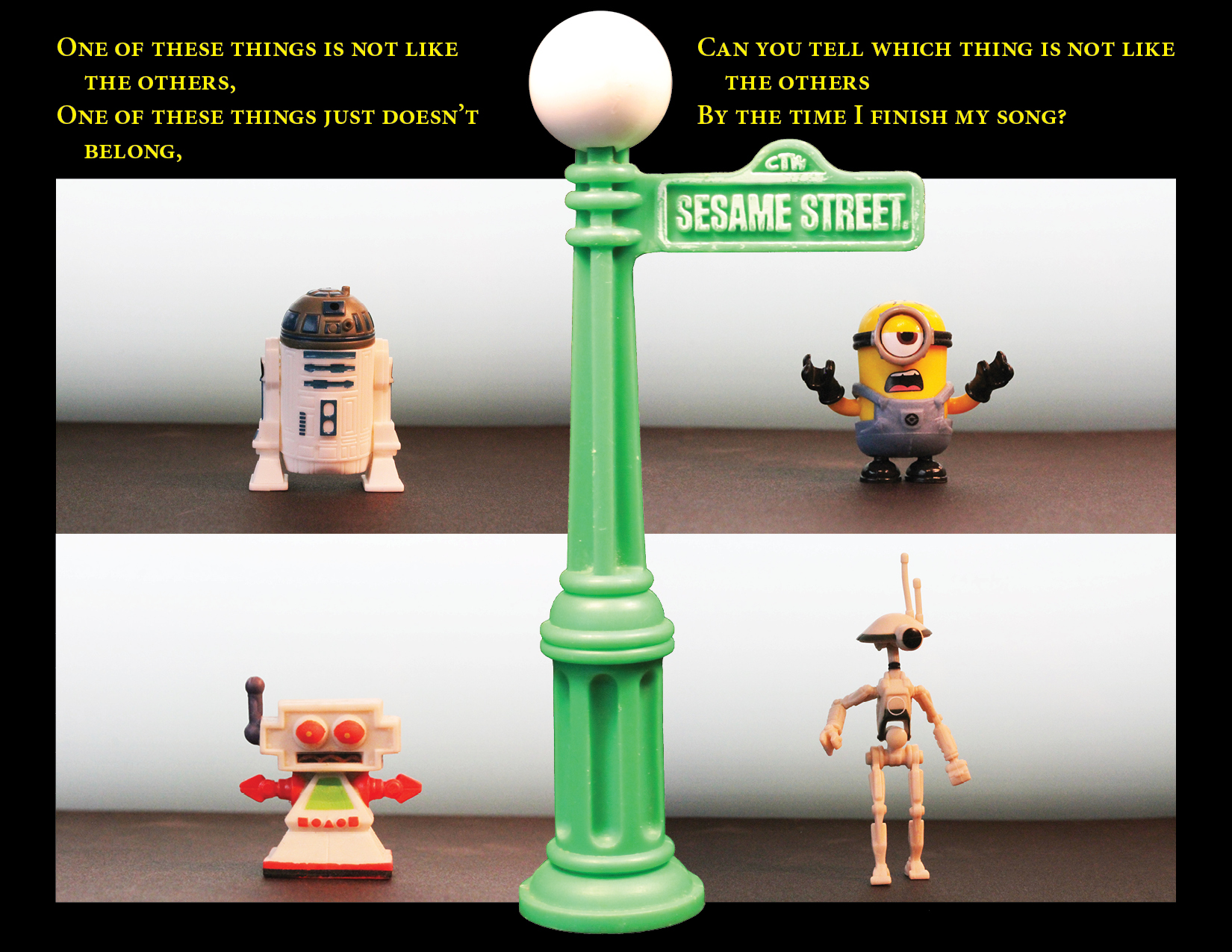 Four figures in four corners of the picture. R2-D2, Dave the minion, Clive the robot, and a Pit droid.