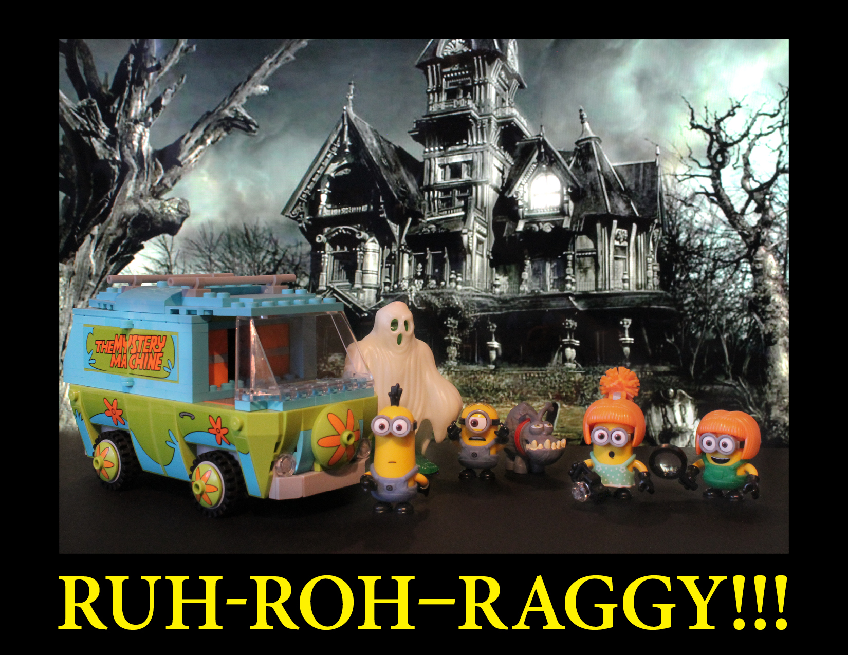 Four minions and the despicable me dog representing the Scooby-Doo gang, the mystery machine and a large ghost standing in front of a haunted house.