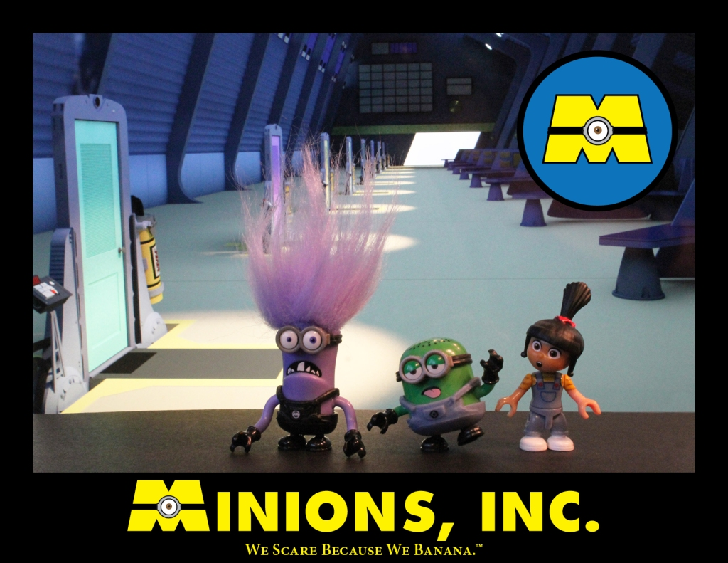 MInions as the monsters, from Monsters Incorporated, standing on the scare floor.