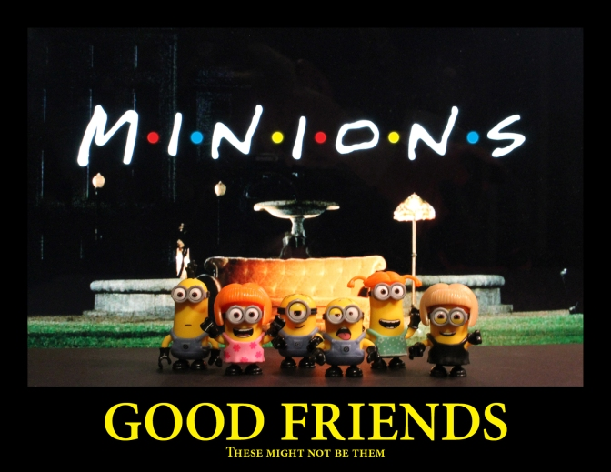 Minions in front of Friends couch with the word minion in the friends logo