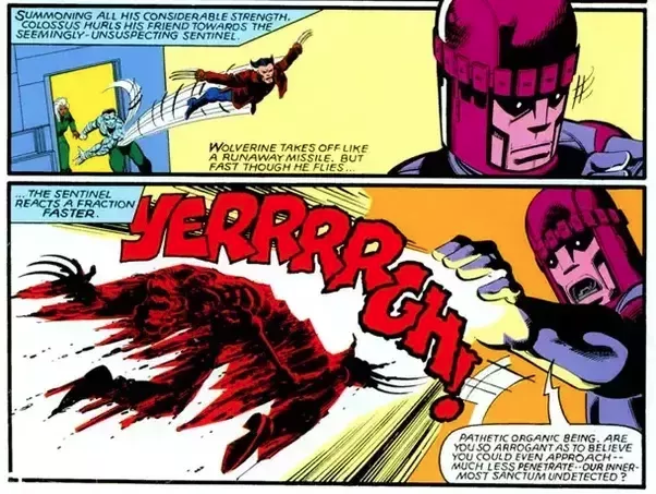 Wolverine fried at the hands of a Sentinel.