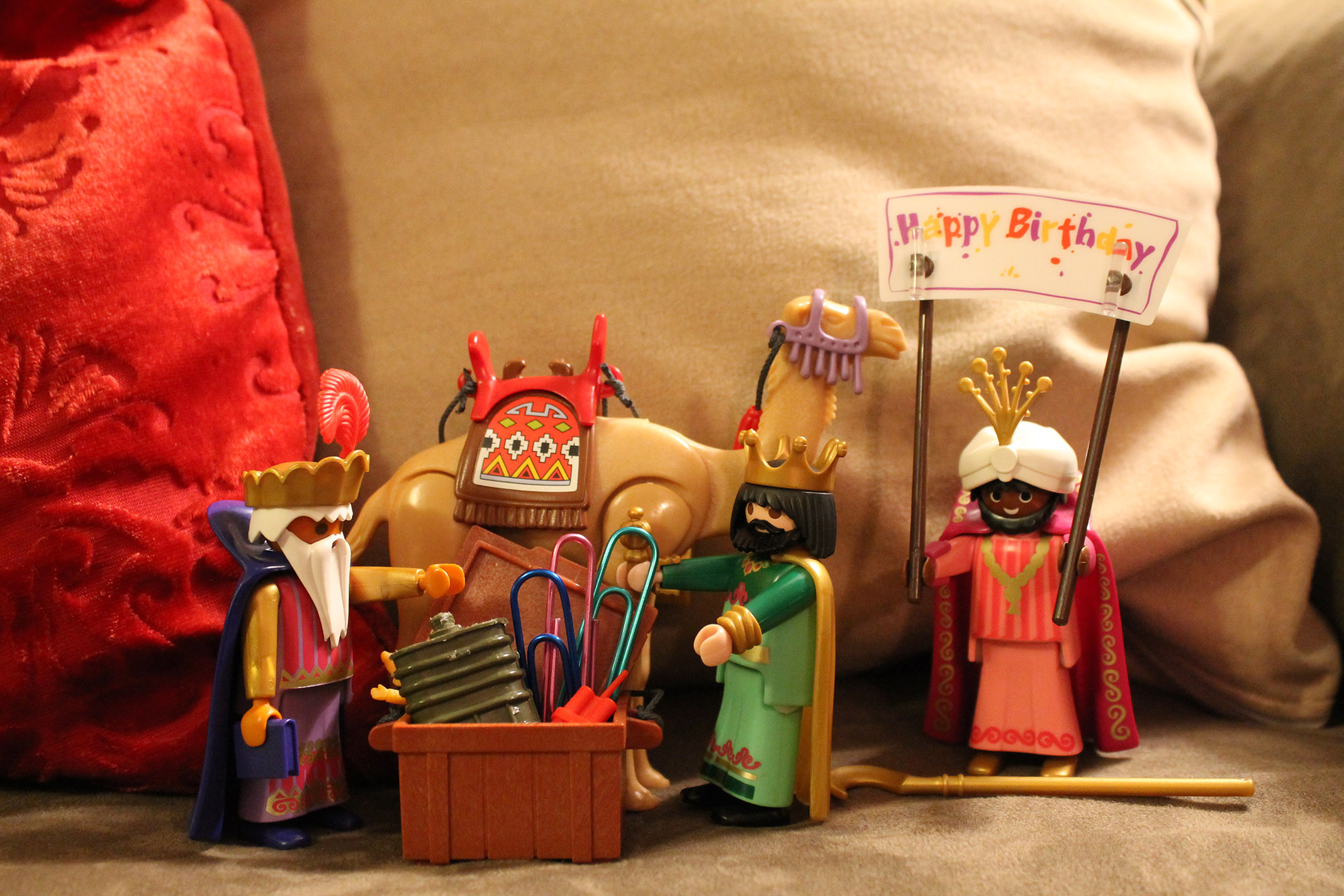 The three wisemen wish my son a happy birthday.