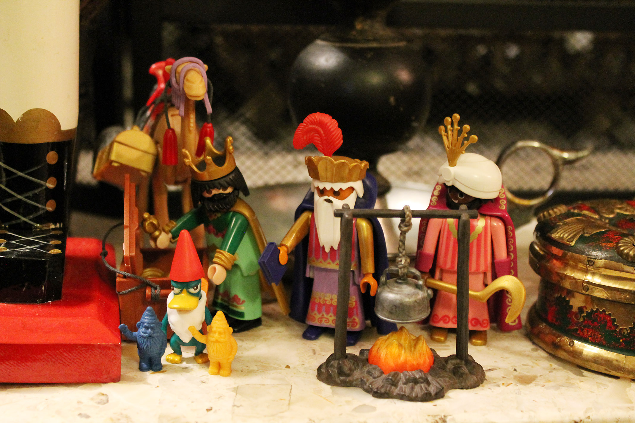 Three wisemen, gnomes, and Perry the Platypus.