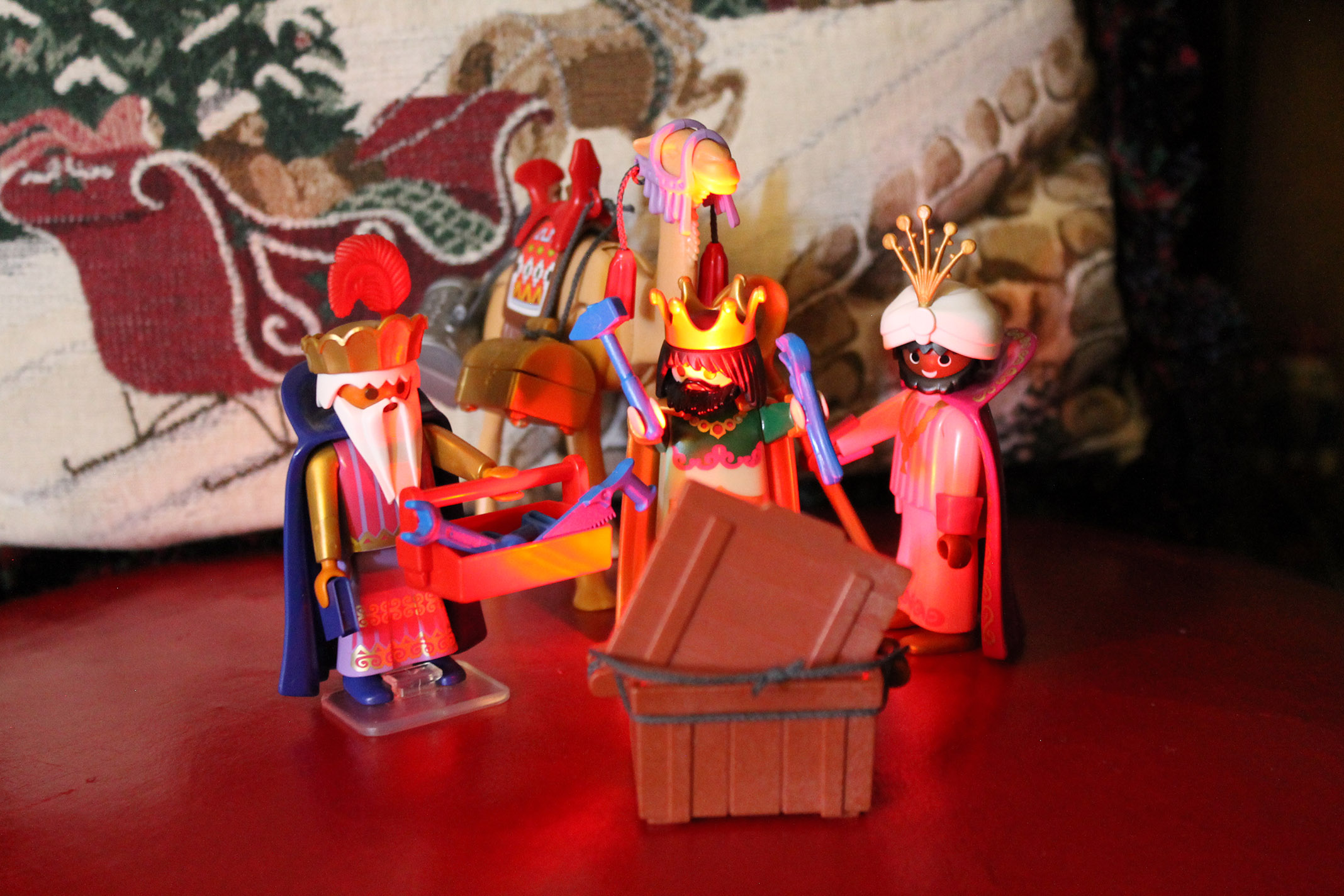 The three wisemen and a glowing crate.