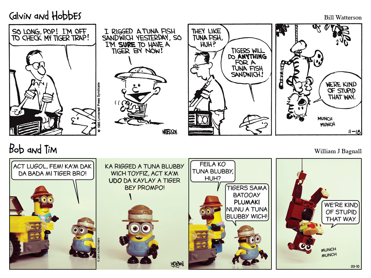 Calvin & Hobbes, Bob & Tim, Minion comic strip.