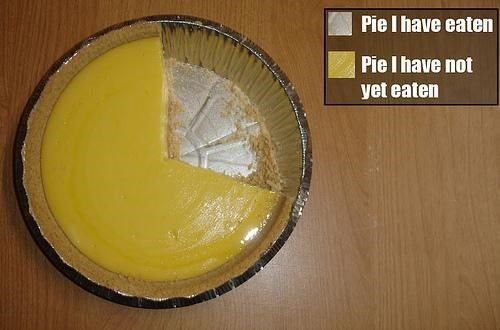 Pie chart about pi that has been eaten and pie that has not been eaten.