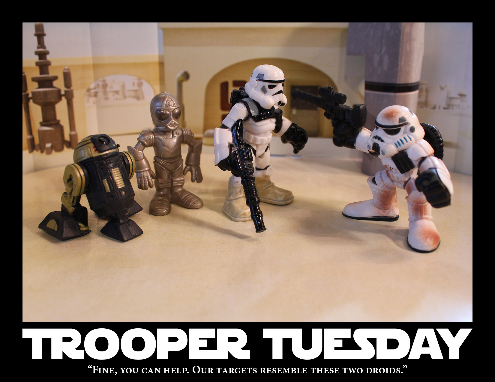 Two Sandtroopers and two droids.