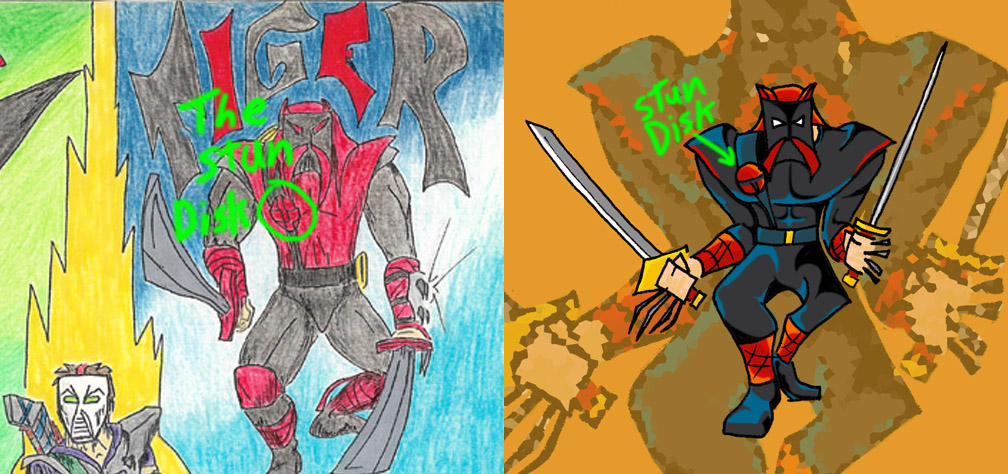 Illustrations of Tiger displaying his Stun Disk on his costume.