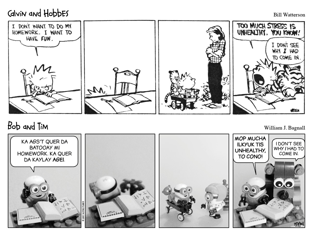 The latest in Calvin & Hobbes mixed with Minions.
