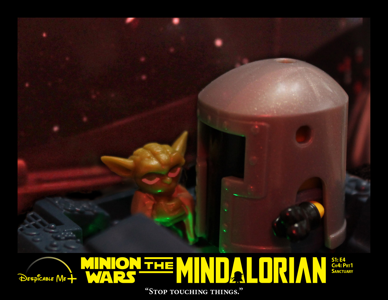 The Mindalorian sit in the cockpit of The Razor Crest and tells baby Yoda to stop touching things.
