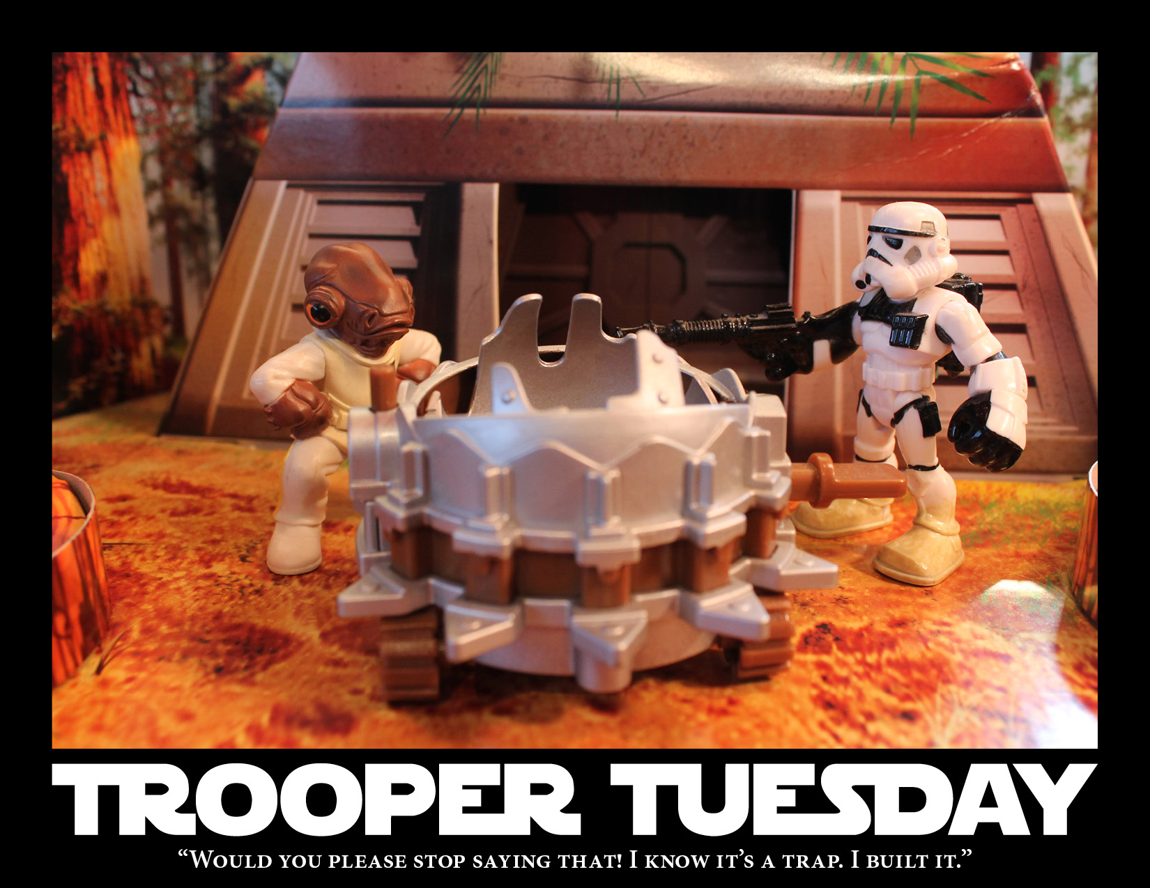 Admiral Ackbar and a Stormtrooper stand around Sandy's newest trap.