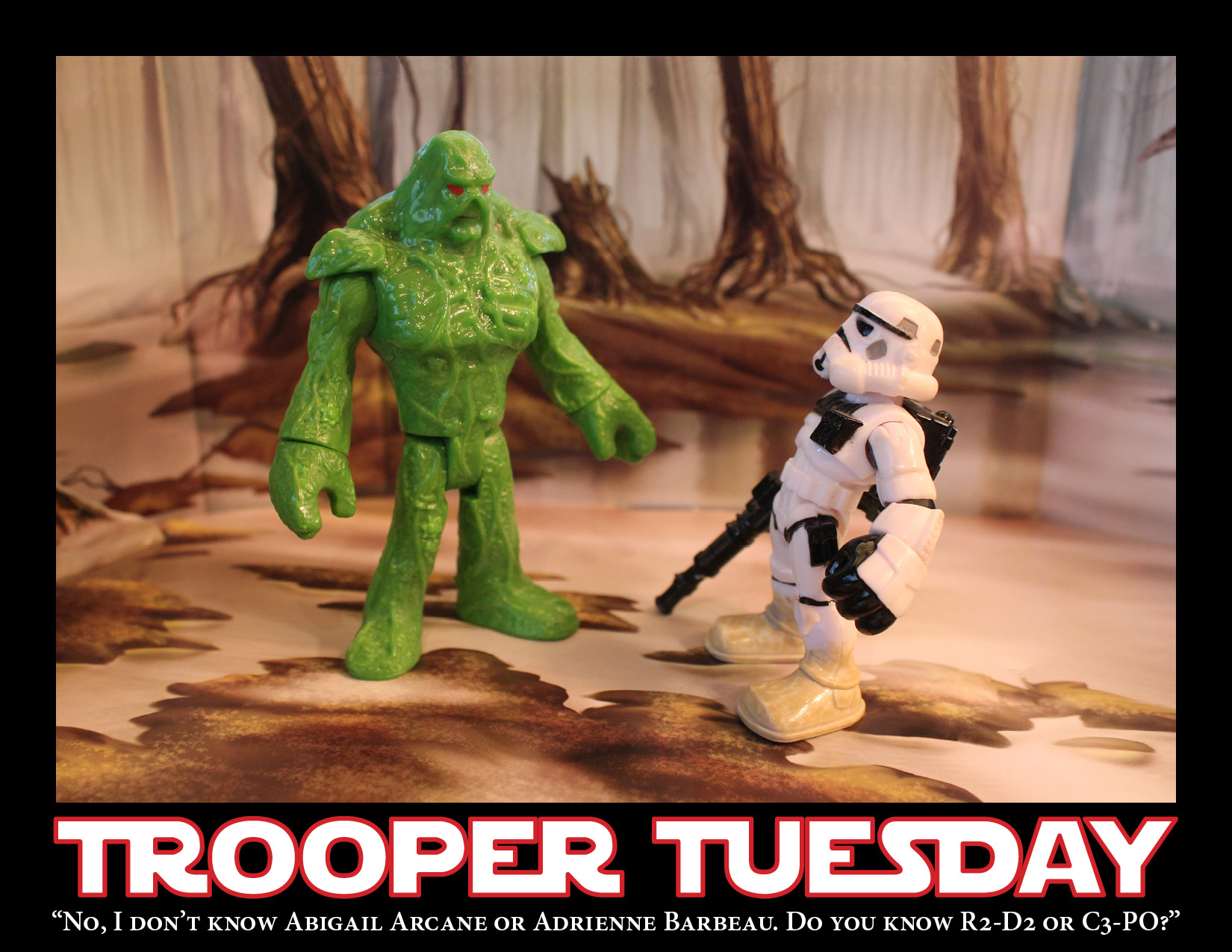 A Sandtrooper and the Swamp Thing stand in the Dagobah swamp discussing missing persons.