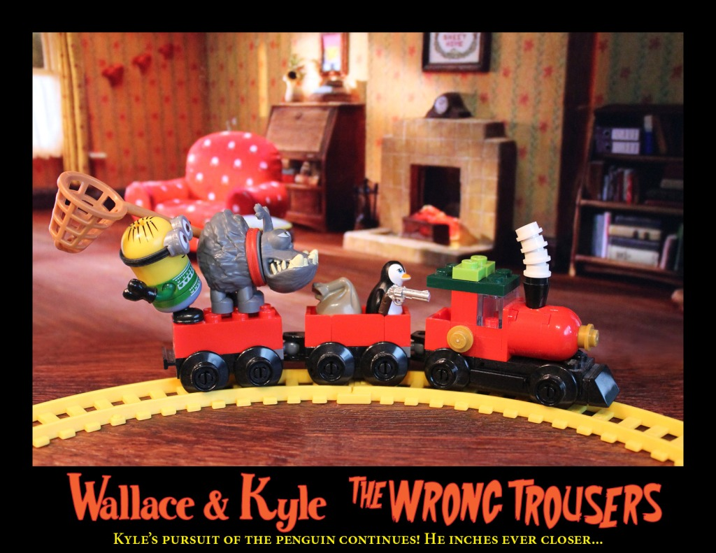 Wallace & Kyle attempt to stop Feathers McGraw.