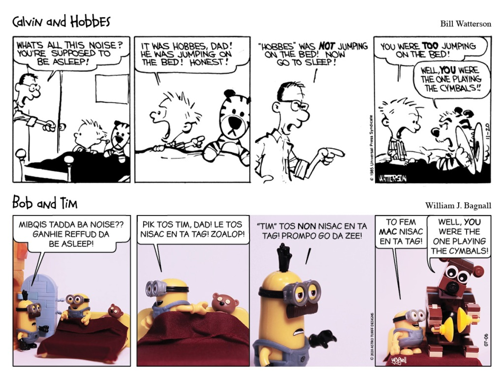Calvin & Hobbes and Bob & Tim get yelled at by their dad for jumping on the bed.