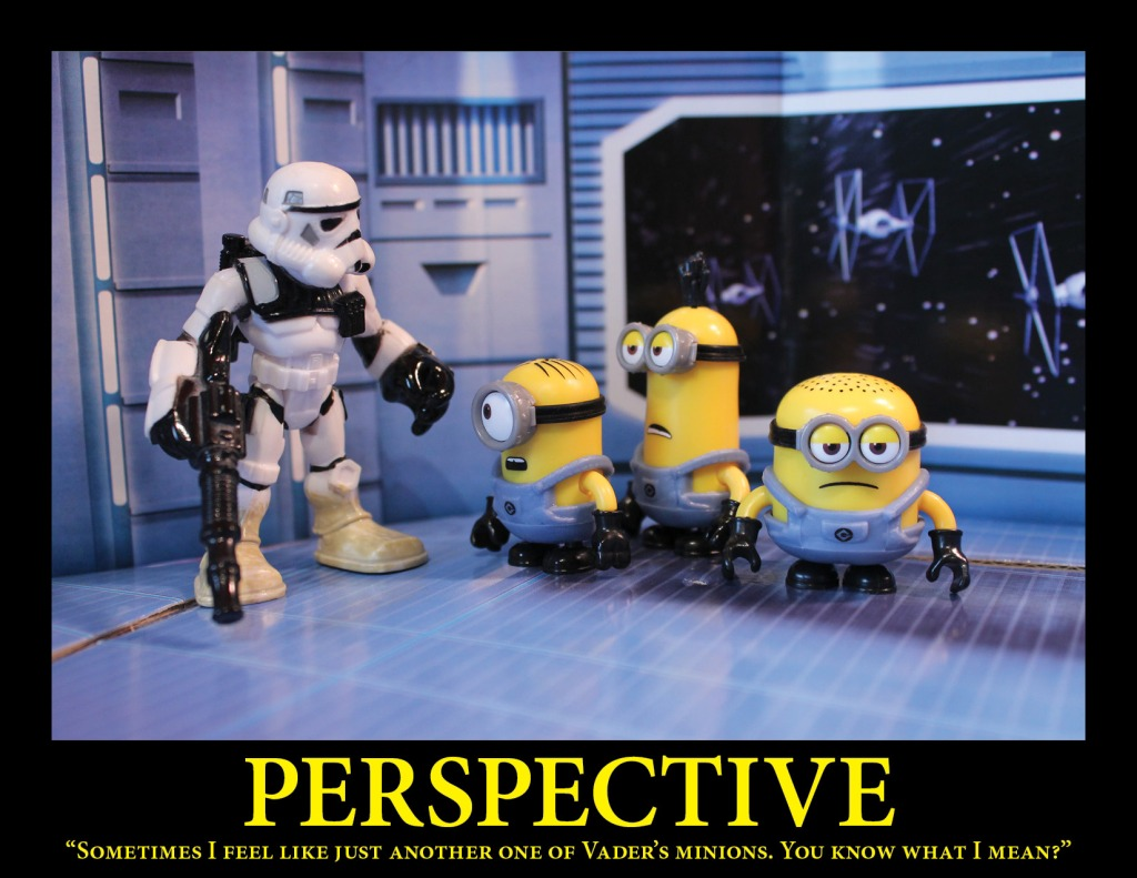 A Sandtrooper discusses his feelings with a group of minions aboard the Death Star.