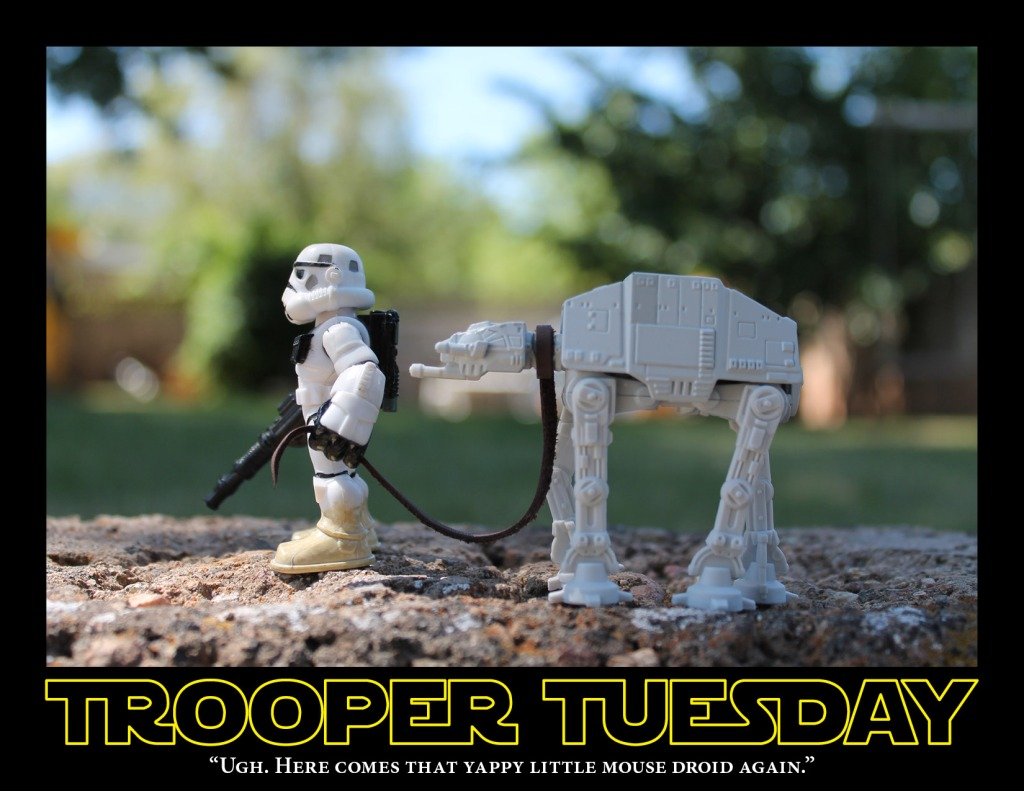 A sandtrooper walks his pet AT-AT, like a dog on a leash.