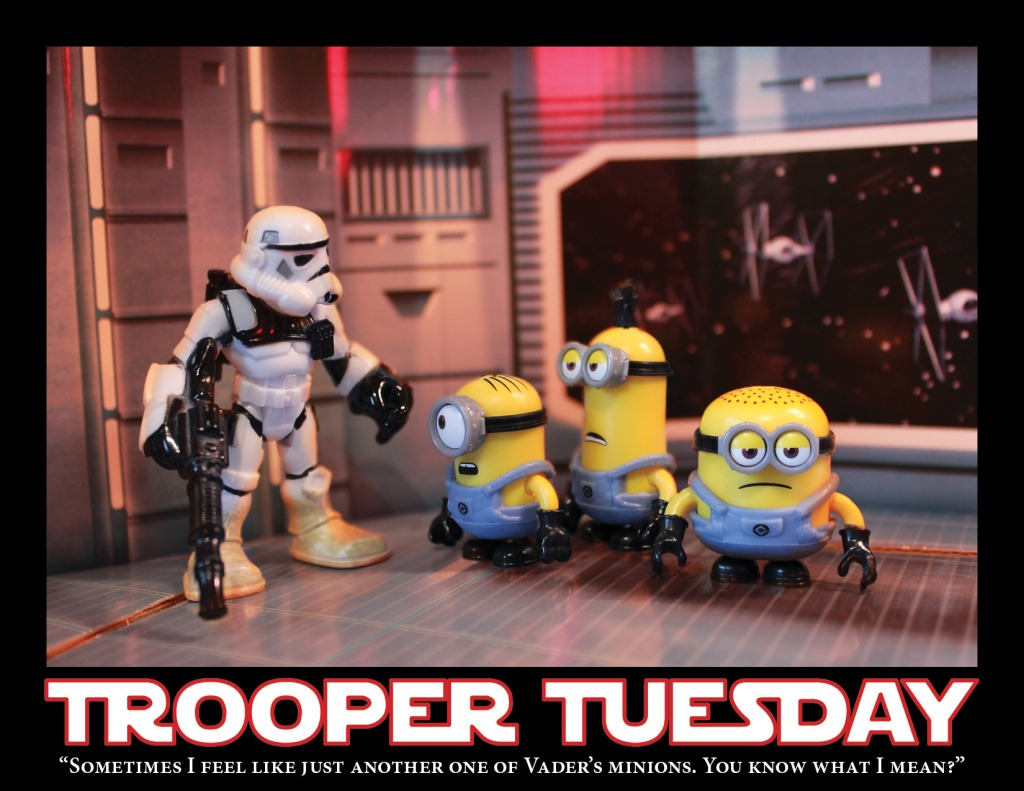 A Sandtrooper talks to a groups of minions aboard the Death Star.